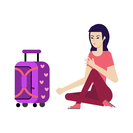 Young woman in summer clothing with purple travel suitcase, plastic bag waiting for flight smiling. Happy female character, traveller, tourist going to vacation. Vector illustration