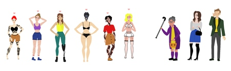 Body positive women and angry irritated people set. young female characters with vitiligo skin disease, leg prosthesis handicap, tattoo all the body, cellulitis and excessive hair on legs, armpit