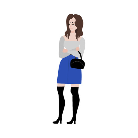 Adult dissatisfied woman standing with arms crossed on chest with upsed displeased face emotion. Female character in glasses, blue skirt holding purse handbag. Vector flat illustration isolated Ilustração