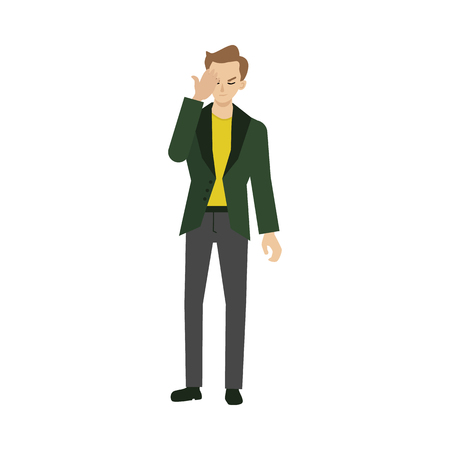 Dissatisfied young man in evening party suit with face palm gesture. Dissapointed, annoyed expression of male character. Vector flat illustration isolated. Illustration
