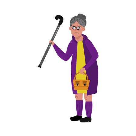 Old woman walking with cane, wicker basket in glasses, rubber boots and coat with angry dissatisfied face emotion. Elderly senior female characterm grandmother unhappy face. Vector flat illustration