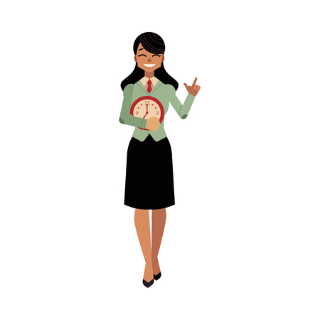 Businesswoman and time management, deadline concept. Female character in corporate suit, manager office worker poiting by her finger to clock watches in hands. Vector cartoon illustration