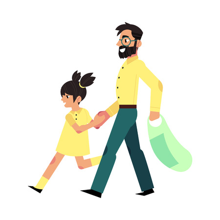 Flat father and daughter cheerful character going to supermarket with shopping bag. Happy family in store concept. Adult man and girl kid. Vector isolated illustration