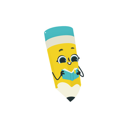Flat humanized pencil with eraser at head, arms and face emotions. Flat vector illustration. Happy, smiling character holding textbook, Back to school concept, kids education instrument. 矢量图像