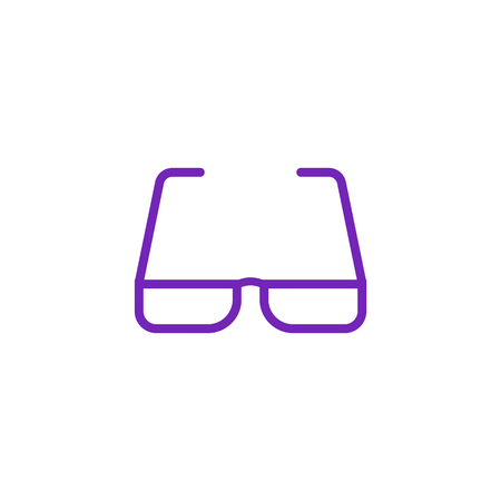 Eyeglasses with violet bezel icon in flat style isolated on white background. Eyewear to improve vision - spectacles with modern colorful frame in vector illustration. Banque d'images - 104139754