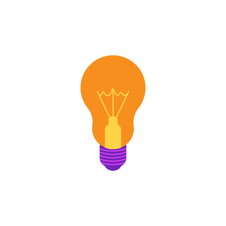 Incandescent light bulb flat icon with yellow luminous glass and violet socket isolated on white background. Lamp vector illustration - innovation and creativity concept. Illustration