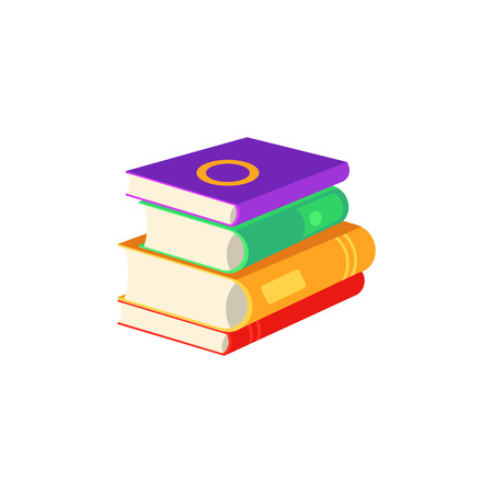Flat book pile or column top view. Paper symbol of education, library literature and wisdom. School, college or university studying equipment. Vector isolated illustration.