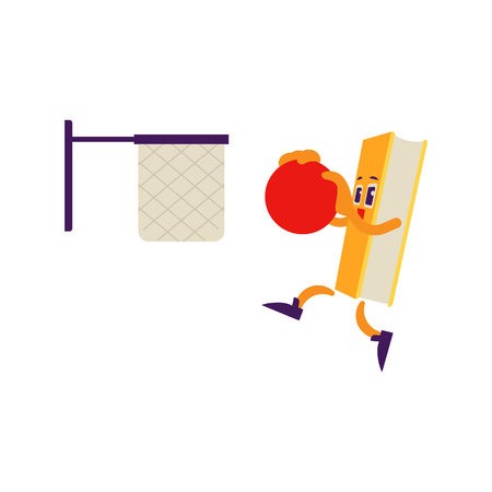 Cartoon book character basketball athlete throwing ball in jump in net, slam dunk. Vector humanized sport textbook for kindergarten, preschool and school kids design.