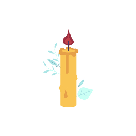Cartoon candles icon. Wax lit, romantic celebration, dating, christmas or thanksgiving holiday, birthday anniversary glowing decoration object with fire flame. Vector isolated illustration
