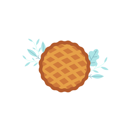 Thanksgiving pie icon. Thanksgiving holiday and autumn harvest celebration symbol. Flat apple, pumpkin cake. Traditional american meal. Vector isolated illustration