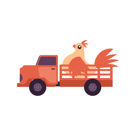Flat farmer truck pickup delivering livestock animals - chicken in body. Farming transportation and organic food. Vector isolated illustration Banque d'images - 104139853