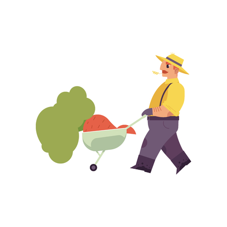 Flat farmer man in professional uniform - rubber boots, overalls pushing cart with hay. Agricultural occupation male worker, rural agrarian. Vector isolated character illustration Ilustrace