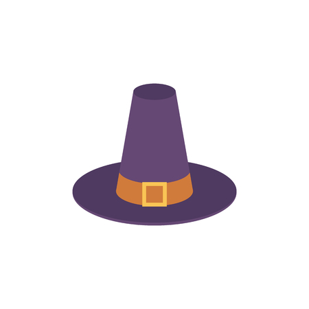Pilgrim blue hat with buckle and belt, symbol of harvest, thanksgiving holiday. American traditional decoration objects, colony farmers element. Vector isolated illustration 版權商用圖片 - 104139875