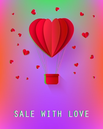 Sale with love poster with papercut origami red hot air balloon with basket in heart shape icon with hearts around. Advertising design, poster template background Vector illustration Illustration