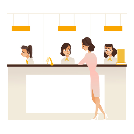Banking service office concept with young girl client communicating with bank managers at reception. Financial consultation of customer or business meeting concept. Vector illustration. Standard-Bild - 104139890