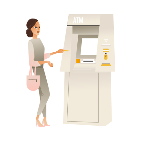 Young woman standing at ATM money machine communication with bank terminal interface to withdraw money or make transaction holding debit card. Vector cartoon illustration