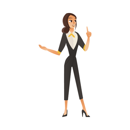 Cartoon cute business woman gesticulating at her work explaining to customers. Beautiful young girl in suit, office manager or bank consultant doing her job. Vector illustration