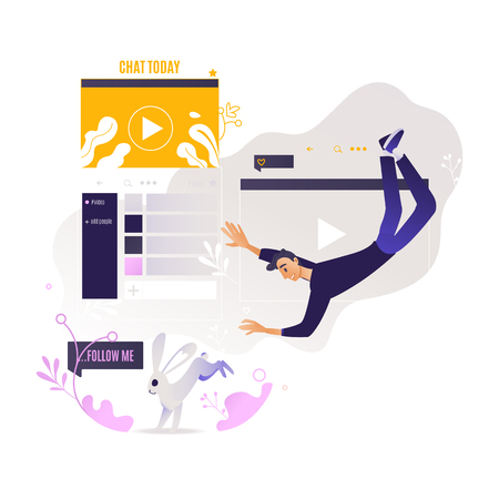 Young boy flying surrounded by web informational resources - social networks, media tools and online chats. Modern handsome man constant being on internet in cartoon vector illustration.