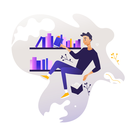 Young boy flying surrounded by books and shelves - studying and analysis of data theme. Man in information surroundings for education concept in cartoon vector illustration. Çizim