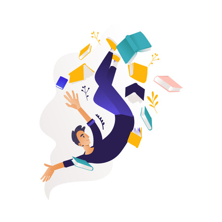 Young boy flying surrounded by books and note pads. Studying and analysis of data theme - man in information surroundings for education concept in cartoon vector illustration. Çizim