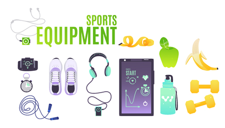 Sports equipment set with cartoon illustrations of necessary accessories for training isolated on white background. Vector clothes and footwear, food and gadgets for sportsperson.