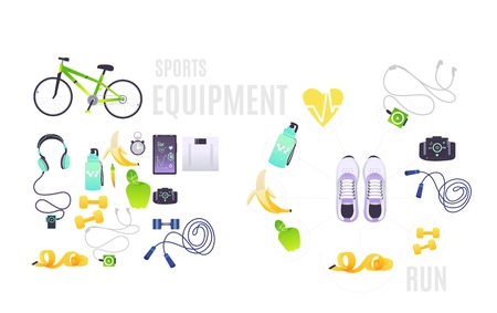 Sports equipment set with cartoon illustrations of necessary accessories for training isolated on white background - vector clothes and footwear, food and gadgets for sportsperson.