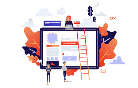 Social communication concept with cartoon people connecting with internet network and devices. Information exchange through gadgets and online services in isolated vector illustration.