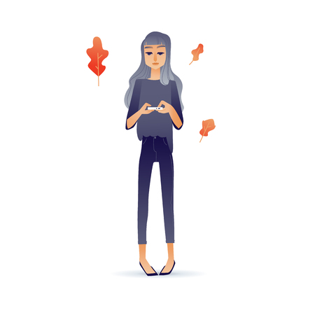 Cartoon social communication concept with young girl, woman standing taping, chatting, sending messages at her smartphone with abstracts on background. Vector illustration