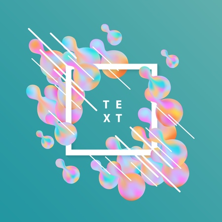 Trendy background template with vibrant gradient pink blue colors abstract round shapes flow, square frame with text space. Vector modern poster, banner, presentation layout, green backdrop. Illustration
