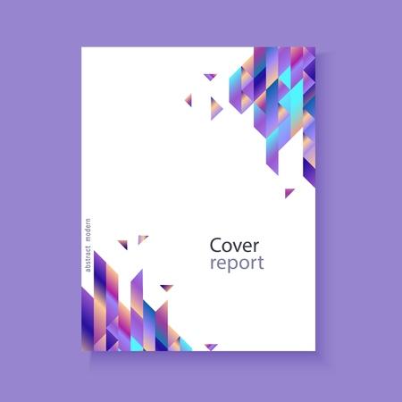 Nowoczesna okładka raportu, modny szablon tła z żywym niebieskim fioletowym odważnym kolorem gradientu, przepływ abstrakcyjnych geometrycznych trójkątów wielokątnych. Wektor, plakat, układ prezentacji ppt
