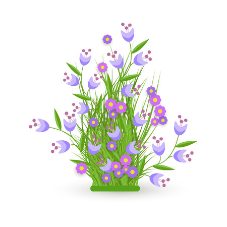 Cornflower and bellflower on green meadow grass leaves bush icon set. Spring summer flower object for retail, sale poster and advertising design. Vector isolated illustration