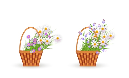flat easter holiday wicker basket with colored chamomile, daisy flowers. Spring icon object for your design. Isolated vector illustration on a white background.