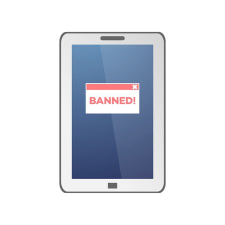 Red Banned sign on tablet screen isolated on white background in flat style. Concept of blocking user for performing certain actions on website in flat vector illustration. Illustration