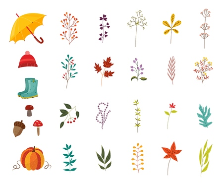 Autumn plants and clothes accessories set with various foliage and wear decorative elements isolated on white background - beautiful fall seasonal objects in flat vector illustration.