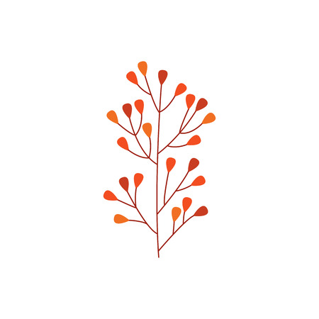 Orange autumn branch of leaves isolated on white background - seasonal natural element for floral design in flat style. Decorative object of fall plant part in vector illustration.