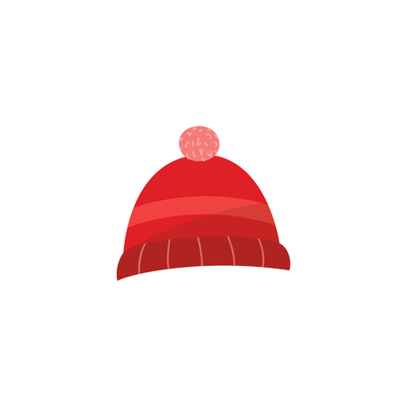 Red knitted hat with pompom - autumn or winter seasonal accessory isolated on white background. Warm clothes element of headwear for design in flat style in vector illustration. Ilustração