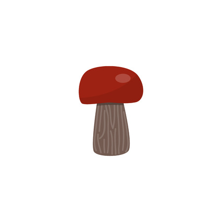 Porcini mushroom with brown cap isolated on white background - seasonal autumn raw food element for natural design in flat style. Vector illustration of ripe boletus edulis. Illustration