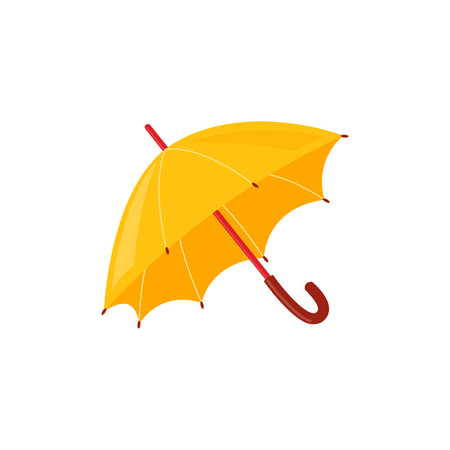 Yellow rainy umbrella isolated on white background - autumn or spring accessory for seasonal design in flat style. Vector illustration of weather element for water protection.