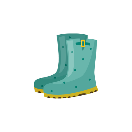 Pair of rubber boot in turquoise color - waterproof autumn footwear for seasonal design in flat style. Isolated vector illustration of gumboots for protection against water and puddles. Stock Vector - 104140140