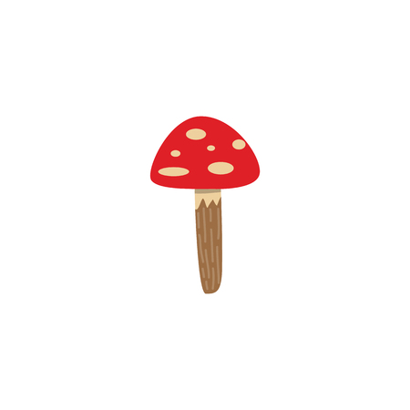 Amanita mushroom with red spotted cap isolated on white background - seasonal autumn element for natural design in flat style. Vector illustration of ripe poisonous fungus.