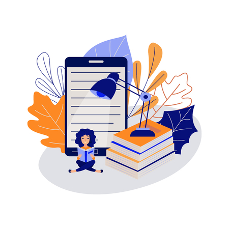 Education concept with young female student sitting cross-legged on floor and reading book surrounded by big school supplies isolated on white background. Flat vector illustration of study process. Stock Illustratie