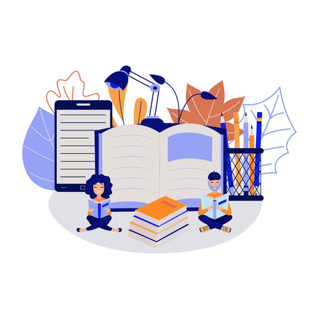 Education process with young students sitting and reading books surrounded by big school supplies isolated on white background - studying boy and girl in flat vector illustration.