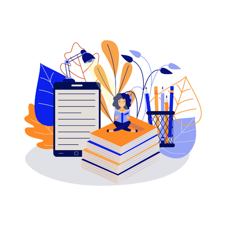 Education concept with young female student sitting cross-legged on stack of textbooks and reading book surrounded by big school supplies isolated on white background in flat vector illustration.