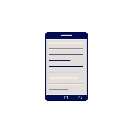 Black smartphone or tablet with opened electronic book for online reading and education concept isolated on white background - flat vector illustration of telephone with informational source. Illustration