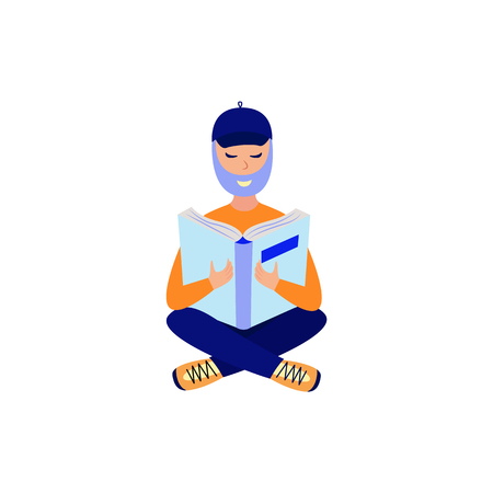 Young bearded man studying with reading book - flat male character sitting cross-legged on floor with open book for education or literary leisure concept in isolated vector illustration.