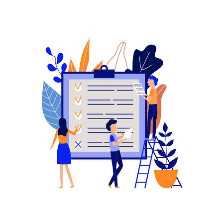 Concept de planification et de gestion du temps avec des personnes pointant les tâches terminées et organisant le processus de travail dans un grand support avec une liste d'objectifs dans une illustration vectorielle plane isolée.
