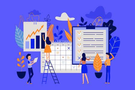 Planning and time management concept with people organizing working process and noting completed tasks in list. Flat characters near big calendar and planner in isolated vector illustration.
