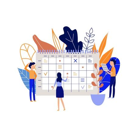 Planification et organisation du processus de travail avec des personnes marquant des dates et enregistrant des tâches et des objectifs dans un grand calendrier de bureau isolé sur fond blanc. Illustration vectorielle plane de la gestion du temps. Vecteurs