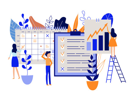 Workflow planning concept with people recording and marking tasks and goals in large schedule and calendar isolated on white background - time management and organizing in flat vector illustration.