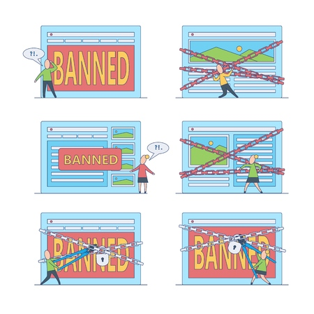 Banned website and access prohibition concept. Flat female, male characters standing, trying to brake chains of virtual or digital screen with site page locked by chains. Vector illustration.